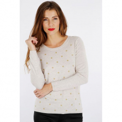 """Sweter """"Poibri"""" w kolorze szarobrązowym. Brązowe swetry klasyczne damskie marki Scottage, z kaszmiru, z okrągłym kołnierzem. W wyprzedaży za 99,95 zł."""