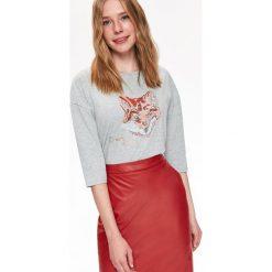 T-SHIRT DŁUGI RĘKAW DAMSKI. Szare t-shirty damskie marki Top Secret, z bawełny. Za 49,99 zł.