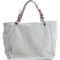 Torebki i plecaki damskie: Skórzany shopper bag w kolorze szarym – 42 x 40 x 20 cm