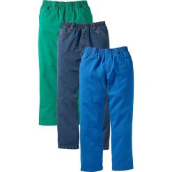 """Odzież dziecięca: Luźniejsze spodnie (3 pary) bonprix lazurowy + zielona papryka + niebieski """"stone"""""""