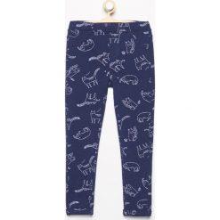 Spodnie dresowe dziewczęce: Dresowe tregginsy z nadrukiem – Granatowy