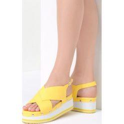 Żółte Sandały Sunglow. Brązowe sandały damskie marki vices, z materiału, ze szpiczastym noskiem, na wysokim obcasie, na obcasie. Za 99,99 zł.