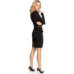 LYRIC Ołówkowa sukienka z baskinką i zamkami - czarna. Czarne sukienki balowe Moe, na co dzień, baskinki. Za 139,99 zł.