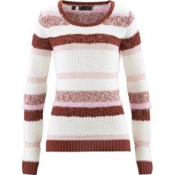 Swetry klasyczne damskie: Sweter bonprix brązowy marsala – biel wełny – bladoróżowy
