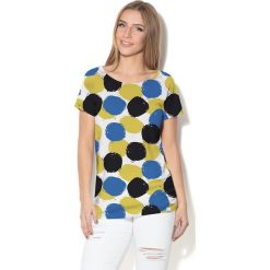 Colour Pleasure Koszulka damska CP-034  4 biało-granatowo-czarno-żółta r. M-L. Białe bluzki damskie marki Colour pleasure, l. Za 70,35 zł.
