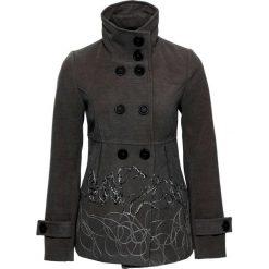 Krótki płaszcz bonprix szary melanż z haftem. Szare płaszcze damskie bonprix, z haftami. Za 189,99 zł.