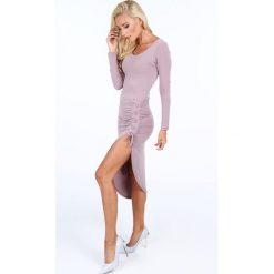 Sukienka z gorsetowym wiązaniem fioletowa 50280. Fioletowe sukienki Fasardi, z gorsetem, gorsetowe. Za 79,00 zł.