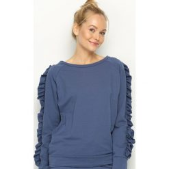 Bluzy damskie: Niebieska Bluza Fancy Sleeves