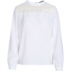 Biała Koszula Blithesome. Białe koszule damskie Born2be, l, z koronki, eleganckie, z okrągłym kołnierzem, z długim rękawem. Za 59,99 zł.