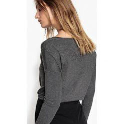 Kardigany damskie: Sweter, okrągły dekolt, dzianina o drobnym splocie