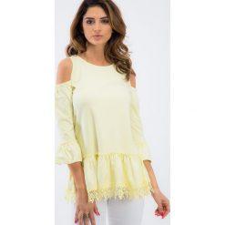 Cytrynowa bluzka z koronką 3358. Żółte bluzki koronkowe Fasardi, s. Za 39,00 zł.