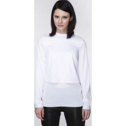 Bluzki damskie: Ciekawa Biała Warstwowa Bluzka z Długim Rękawem
