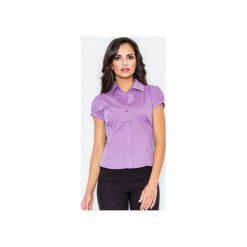 Koszula M026 Fiolet. Fioletowe koszule wiązane damskie FIGL, m, z bawełny, klasyczne, z klasycznym kołnierzykiem, z krótkim rękawem. Za 73,00 zł.