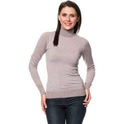 Golfy damskie: Sweter w kolorze szarobrązowym