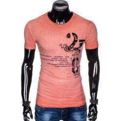 T-SHIRT MĘSKI Z NADRUKIEM S893 - KORALOWY. Pomarańczowe t-shirty męskie z nadrukiem Ombre Clothing, m. Za 39,00 zł.