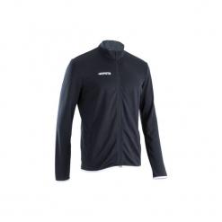 Bluza do piłki nożnej T100. Czarne bluzy męskie rozpinane marki KIPSTA, m, z elastanu, z długim rękawem, na fitness i siłownię. Za 59,99 zł.
