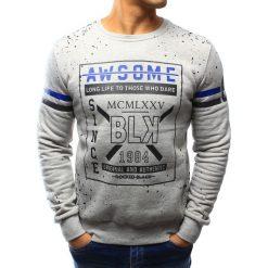 Bluzy męskie: Bluza męska bez kaptura z nadrukiem szara (bx3095)