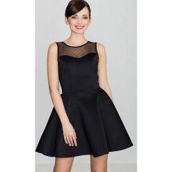 Sukienki: Czarna Wyjściowa Rozkloszowana Sukienka bez Rękawów z Prześwitującym Karczkiem
