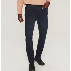 Rurki męskie: Spodnie w stylu motocyklowym slim – Granatowy