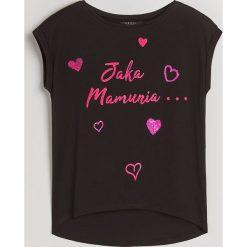 Koszulka z aplikacją Little Princess - Czarny. Czarne t-shirty damskie Mohito, l, z aplikacjami. Za 49,99 zł.