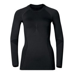 Bluzki sportowe damskie: Odlo Koszulka Tech. Shirt l/s Crew Neck EVOLUTION WARM Czarna r. S  (183131)