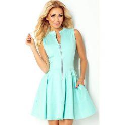 Sukienki: 123-7 sukienka z ekspresem z przodu i kieszonkami - miętowa
