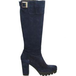 Kozaki - B195 VEL OCEA. Czarne buty zimowe damskie marki Kazar, z futra, przed kolano, na wysokim obcasie, na koturnie. Za 299,00 zł.