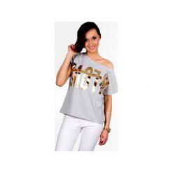 Koszulka luźny fason złoty napis. Szare t-shirty damskie Knitcat, l, z nadrukiem, z bawełny. Za 79,00 zł.