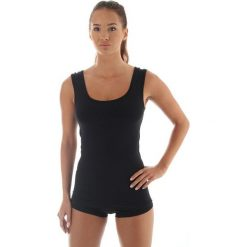 Bluzki asymetryczne: Brubeck Koszulka damska COMFORT WOOL czarna r. XL (TA10170)