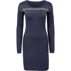 Sukienka dzianinowa z aplikacją z cekinów bonprix ciemnoniebiesko-srebrny. Niebieskie sukienki dzianinowe bonprix, z aplikacjami. Za 89,99 zł.
