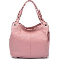 Skórzana torebka w kolorze różowym - (S)32 x (W)45 x (G)12 cm. Czerwone shopper bag damskie Carla Ferreri, z materiału. W wyprzedaży za 289,95 zł.