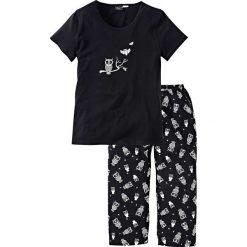 Piżama z krótkim rękawem i spodniami 3/4 bonprix czarno-biały. Czarne piżamy damskie bonprix, z krótkim rękawem. Za 54,99 zł.
