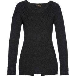 Swetry klasyczne damskie: Sweter we wzór w warkocze bonprix antracytowy melanż