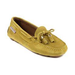Mokasyny damskie: Skórzane mokasyny w kolorze żółtozielonym