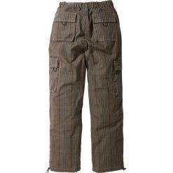 Spodnie bojówki Loose Fit Straight bonprix w kratę. Szare bojówki męskie bonprix, w paski. Za 79,99 zł.