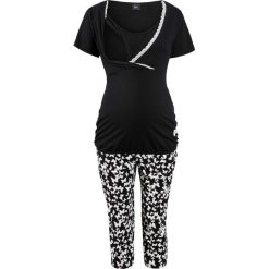 Piżama do karmienia ze spodniami 3/4 bonprix czarny z nadrukiem. Czarne bielizna ciążowa marki bonprix, w koronkowe wzory, z bawełny, moda ciążowa. Za 74,99 zł.