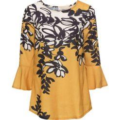 Bluzka w kwiatowy wzór bonprix złocisto-ciemnoniebieski w kwiaty. Żółte bluzki z odkrytymi ramionami marki Mohito, l, z dzianiny. Za 79,99 zł.