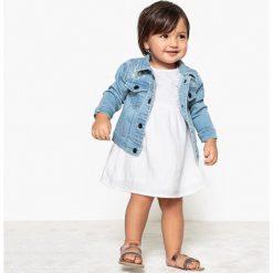 Sukienka z koronką 1 miesiąc - 3 lata. Szare sukienki dziewczęce marki La Redoute Collections, w koronkowe wzory, z bawełny, z krótkim rękawem, krótkie, mini. Za 88,16 zł.