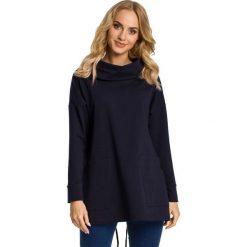 Bluzy damskie: Granatowa Bluza z Nakładanymi Kieszeniami