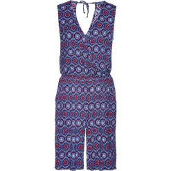 Kombinezony damskie: Kombinezon z krótkimi nogawkami bonprix niebieski wzorzysty