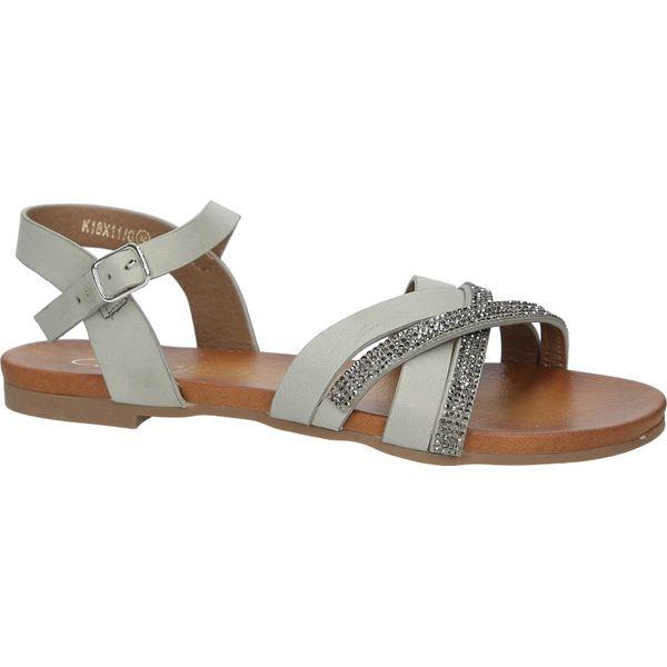 0eaa11670ae3f0 Szare lekkie sandały płaskie z mieniącymi się kryształkami Casu ...