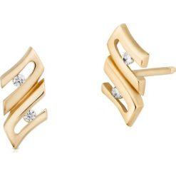 Kolczyki damskie: Zjawiskowe Złote Kolczyki – złoto żółte 333, Cyrkonia