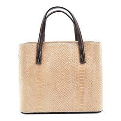 Torebki klasyczne damskie: Skórzana torebka w kolorze ciemnobeżowym – (S)31 x (W)25,5 x (G)14 cm
