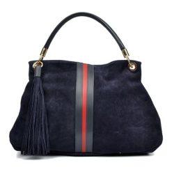 Torebki klasyczne damskie: Skórzana torebka w kolorze granatowym – (S)30 x (W)44 x (G)15 cm