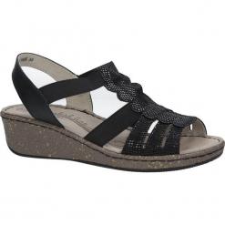 Czarne sandały skórzane na koturnie Casu DS056/18BK. Czarne sandały damskie Casu, na koturnie. Za 79,99 zł.