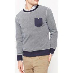 Bluza z okrągłym dekoltem. Szare kardigany męskie La Redoute Collections, l, z bawełny, biznesowe, z kontrastowym kołnierzykiem. Za 126,38 zł.