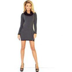 Grafitowa Mini Sukienka z Opadającym Golfem i Kieszeniami. Czarne sukienki dzianinowe marki bonprix, do pracy, w paski, biznesowe, moda ciążowa. Za 144,90 zł.