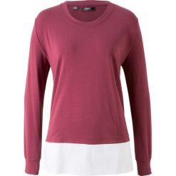 Bluza dresowa z koszulową wstawką bonprix czerwony rododendron. Fioletowe bluzy damskie bonprix, z dresówki. Za 37,99 zł.