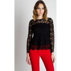 Bluzki asymetryczne: Czarna bluzka z koronką  BIALCON