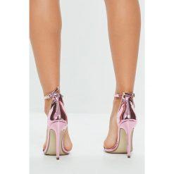 Missguided - Sandały. Szare sandały damskie marki Missguided, z materiału, na obcasie. W wyprzedaży za 79,90 zł.